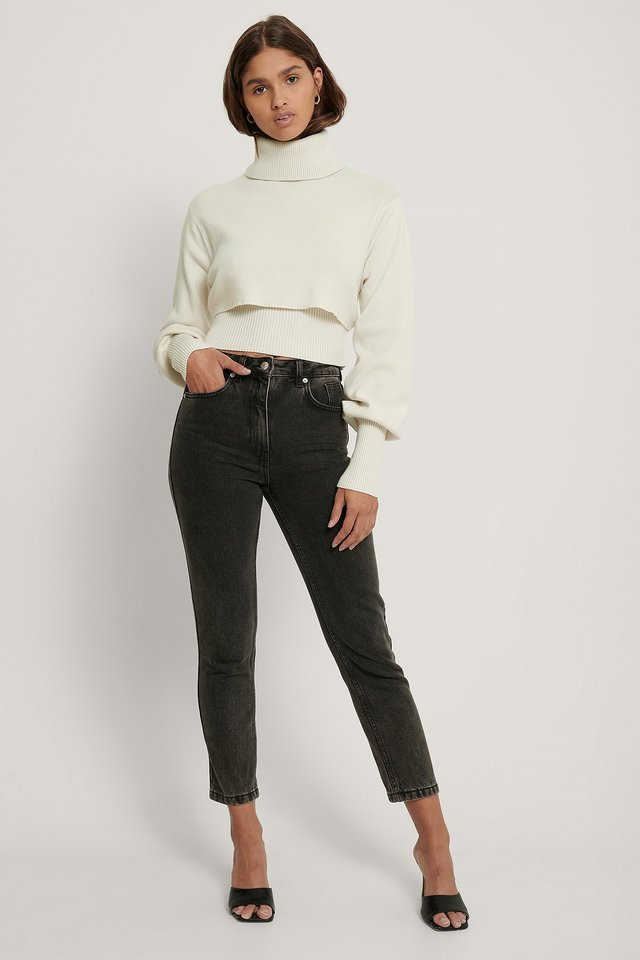 Organic Mom Fit Jeans Black