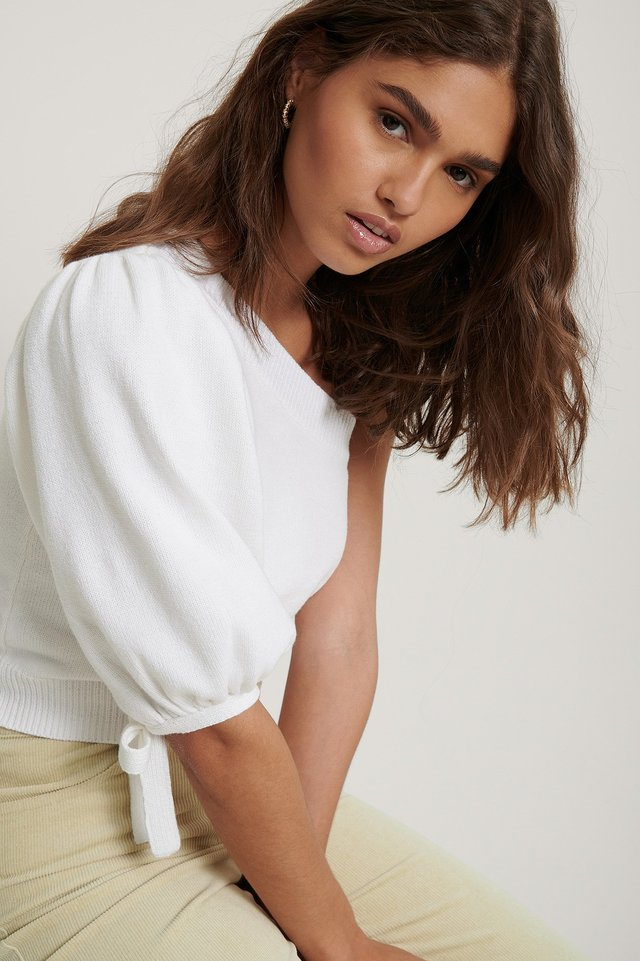 Organic One Shoulder Knit Top Off White