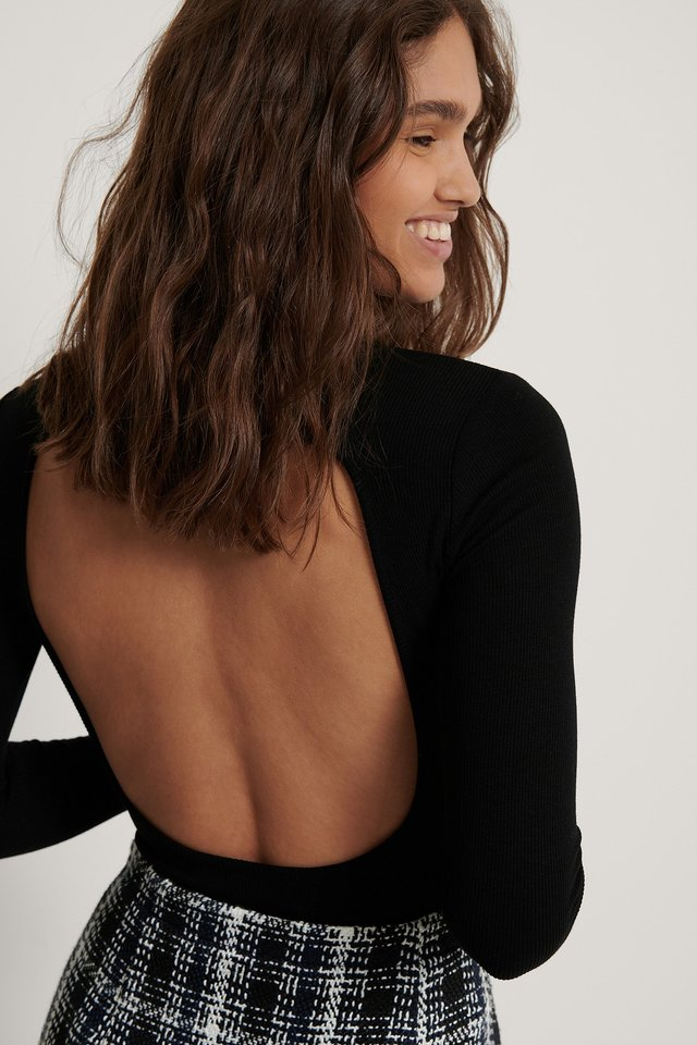 Open Back Ribbed Top Black