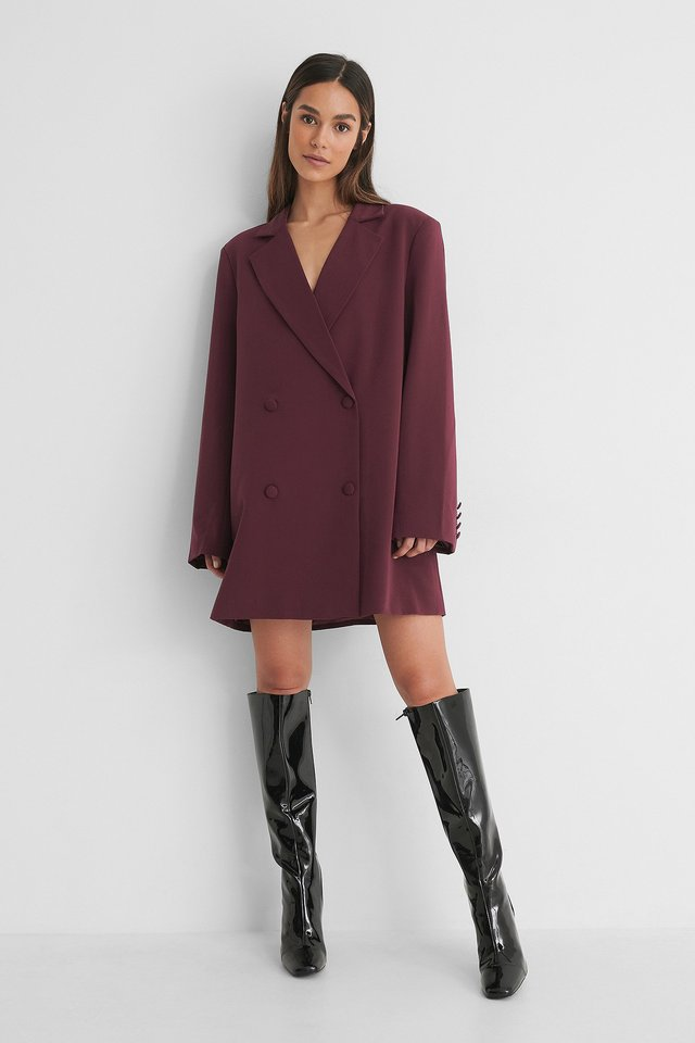 Burgundy Oversized Blazer Dress