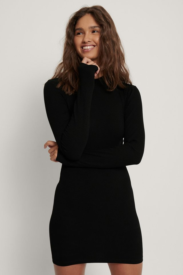 Ribbed Jersey Dress Black