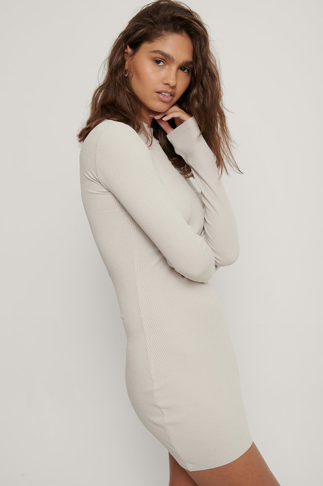 Ribbed Jersey Dress Light Grey
