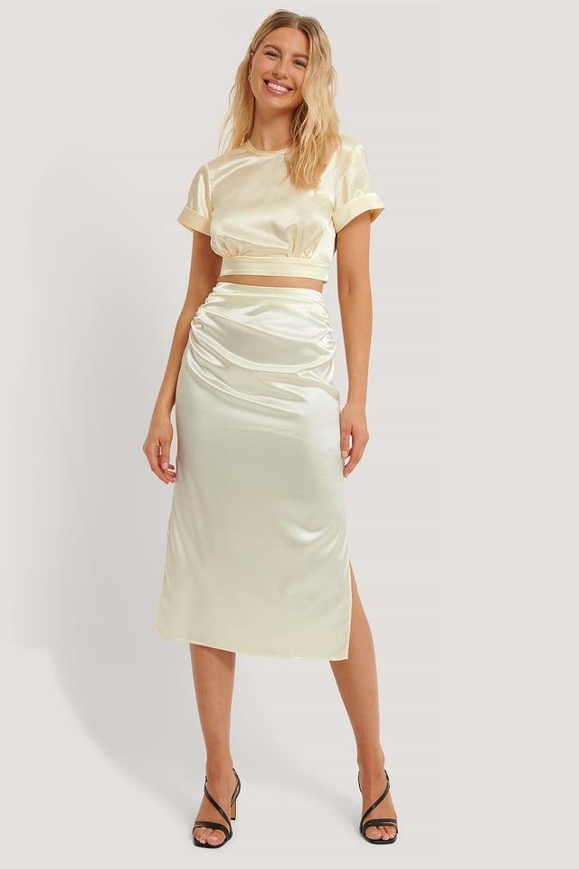 Side Slit Satin Skirt Light Beige