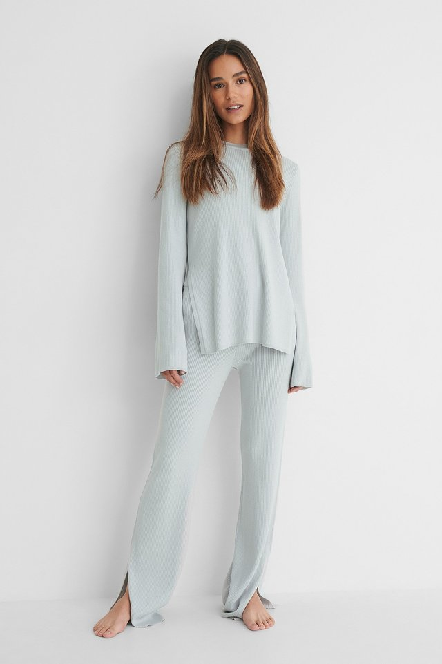 Grey Slit Detail Rib Pants
