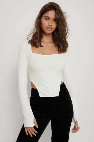 Off White Ribbet Top