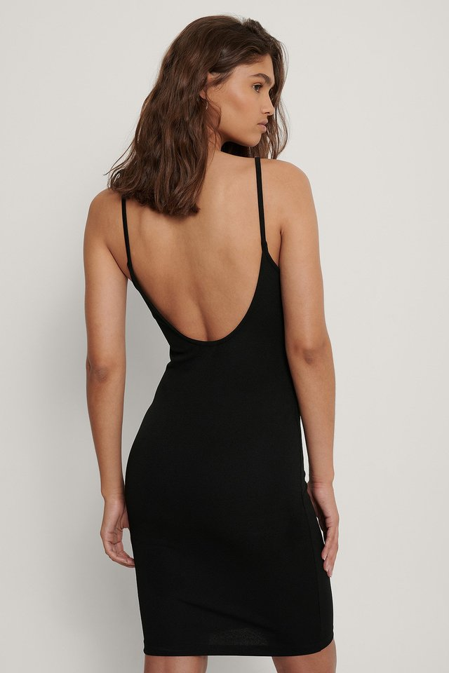 Thin Strap Jersey Dress Black