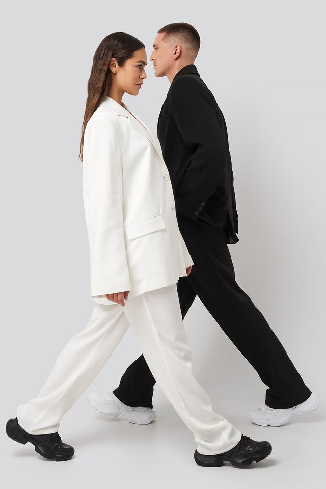 Assymmetric Closure Pants White
