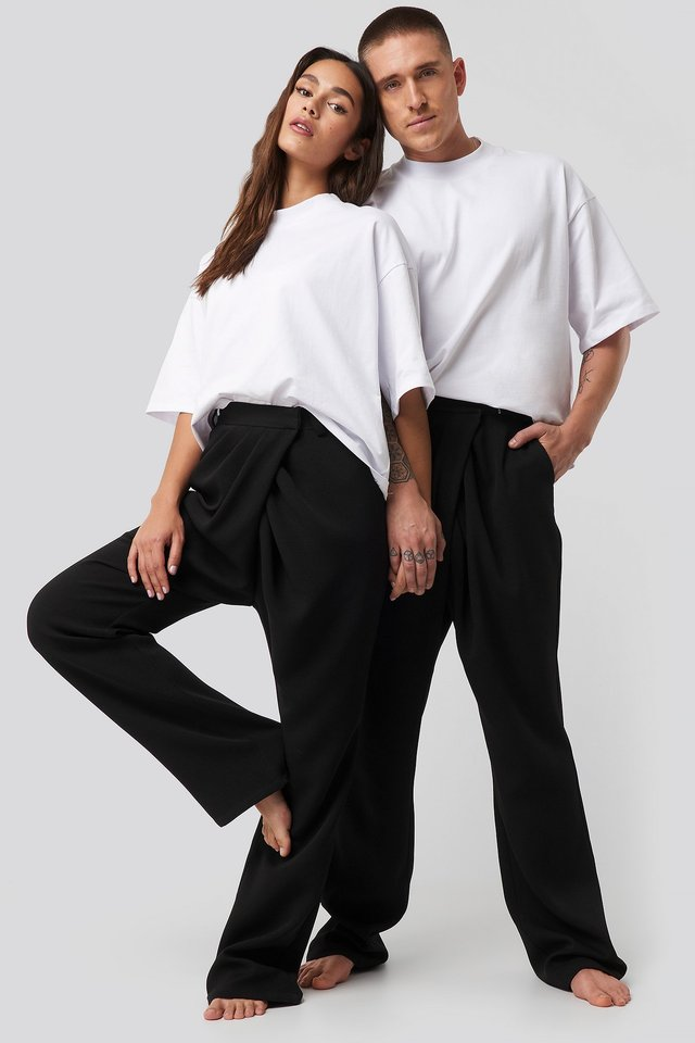 Assymmetric Closure Pants Black