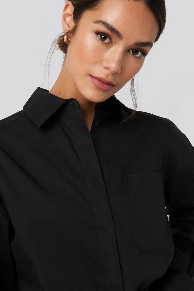Dropped Shoulder Shirt Black