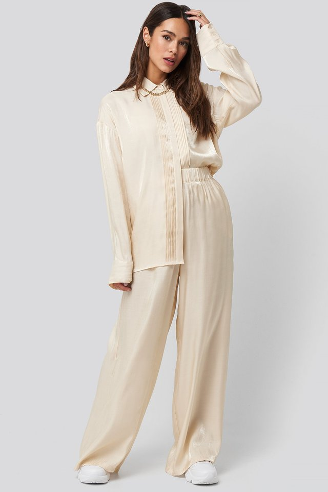 Shiny Flowy Pants Cream