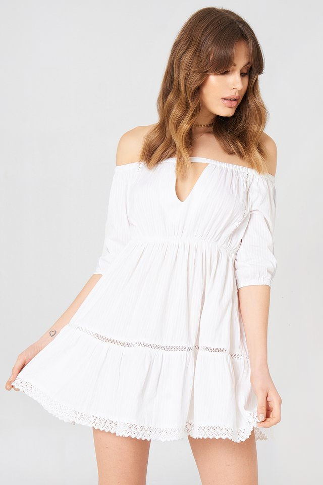 Off Shoulder Crochet Dress White
