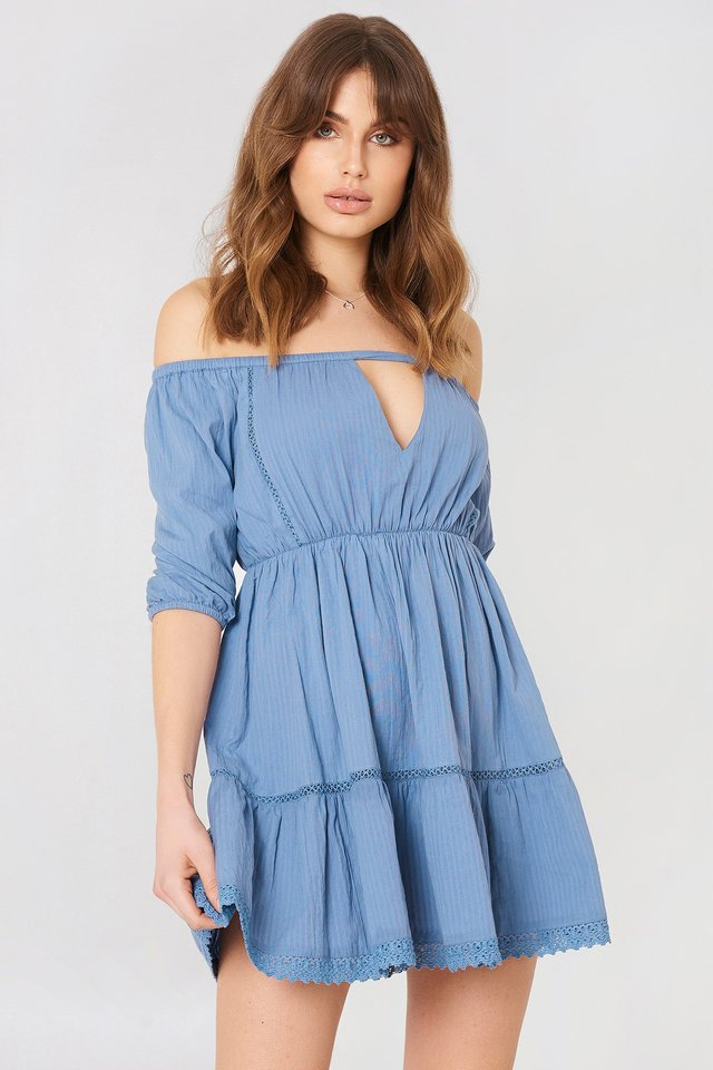 Off Shoulder Crochet Dress Blue