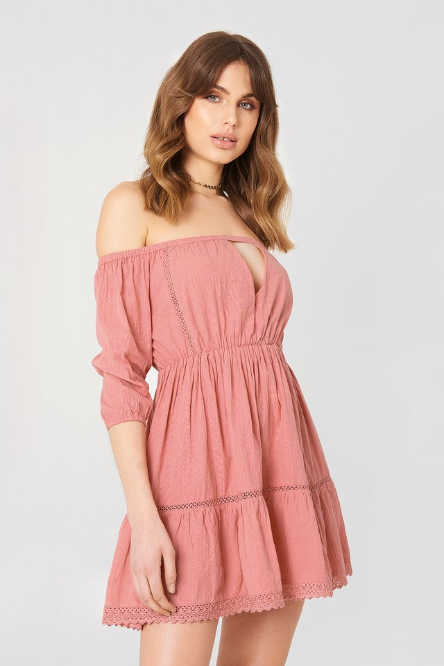 Off Shoulder Crochet Dress Rose