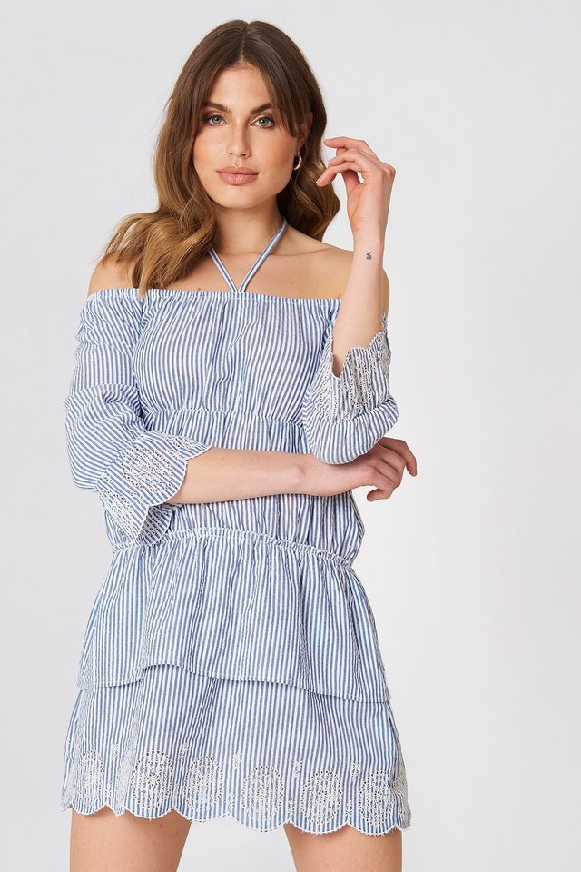 Off Shoulder String Dress Blue/White Stripe