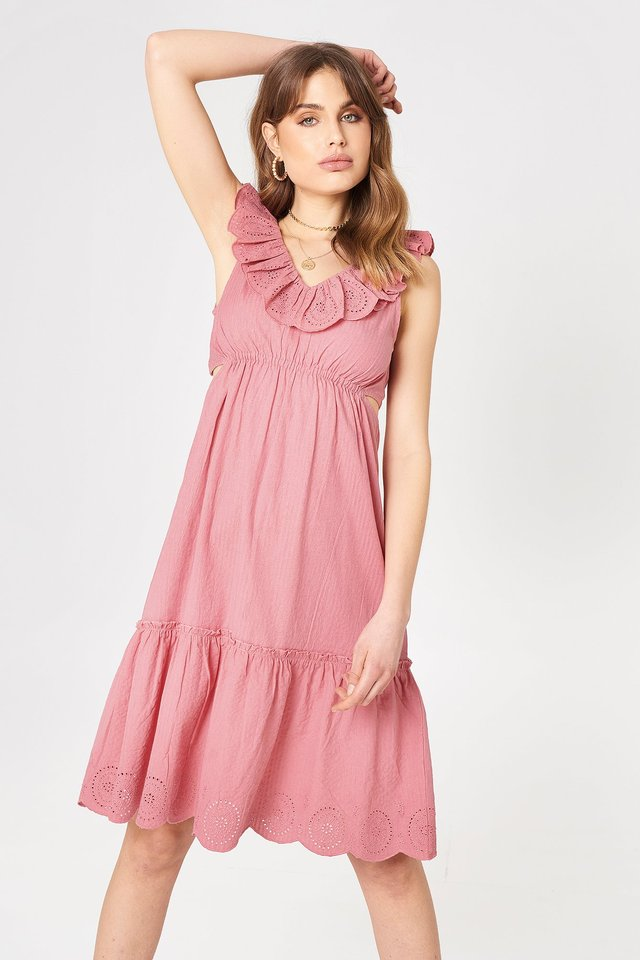V Neck Cut Out Dress Rose