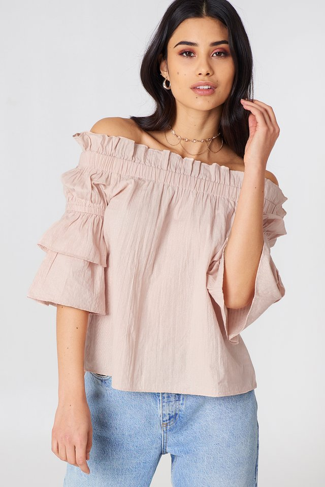 Off Shoulder Frill Top Pink