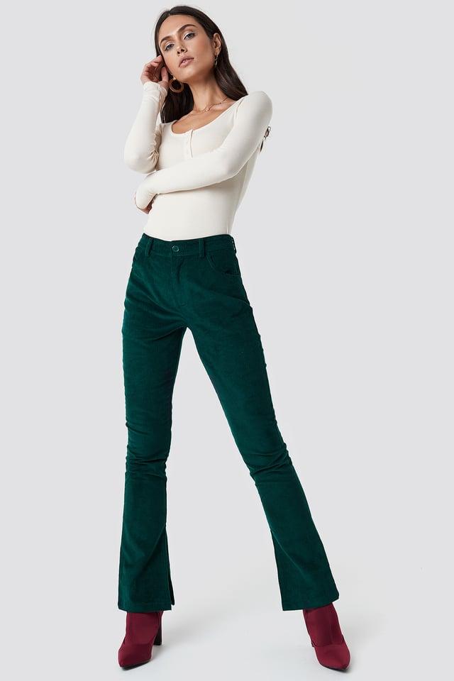 Corduroy Pants Dark Green