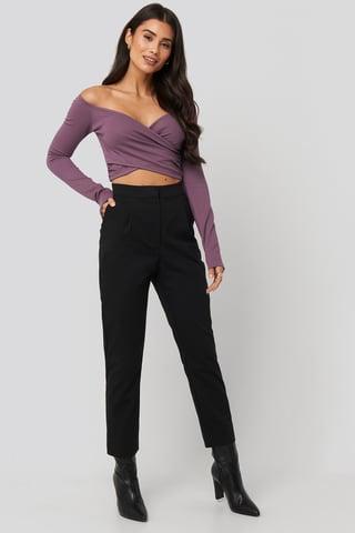 Black Front Pleated Suit Pants