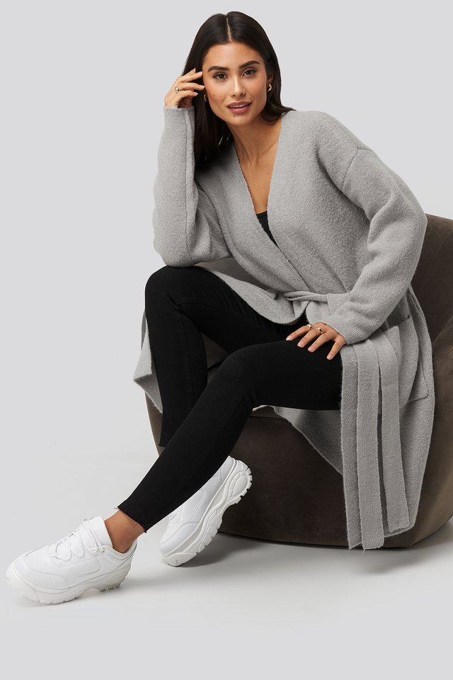 Knitted Pocket Cardigan Grey