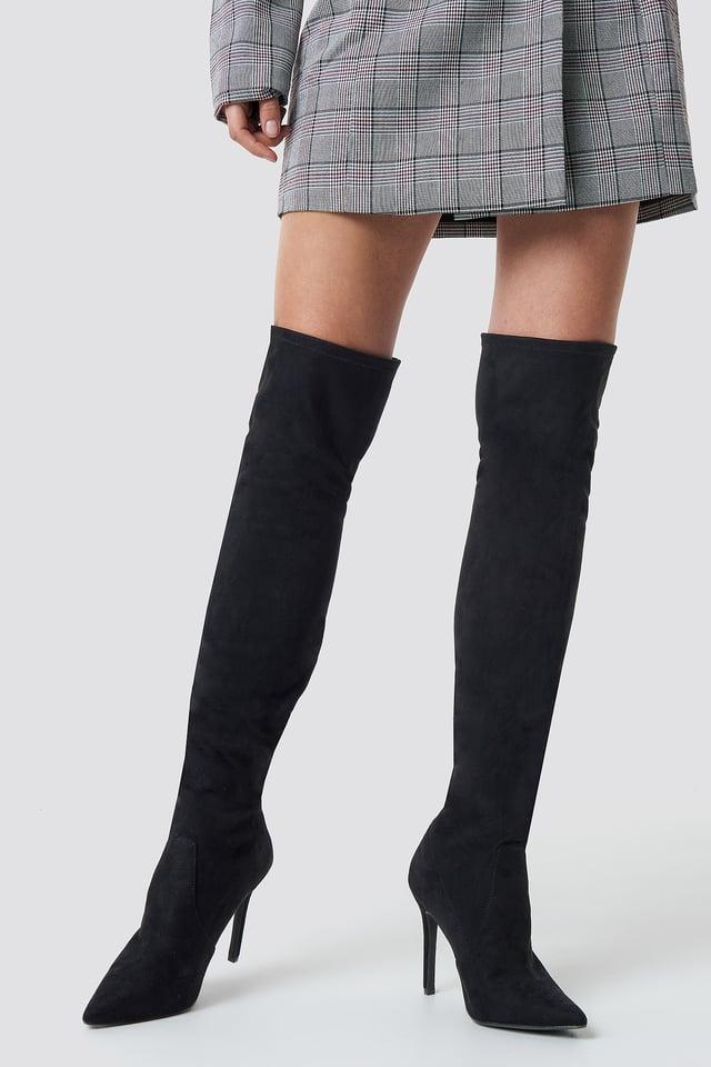 Overknee Front Seam Boots Black
