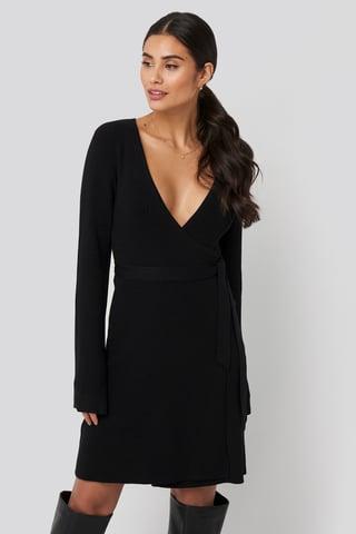 Black Overlap Rib Knitted Dress
