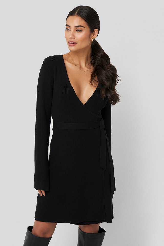 Overlap Rib Knitted Dress Black