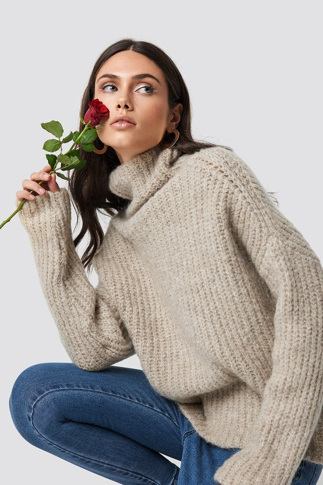 Oversize Polo Knit Sweater Beige