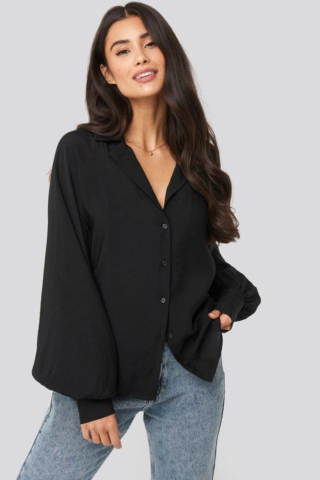 Puff Sleeve Shirt Black