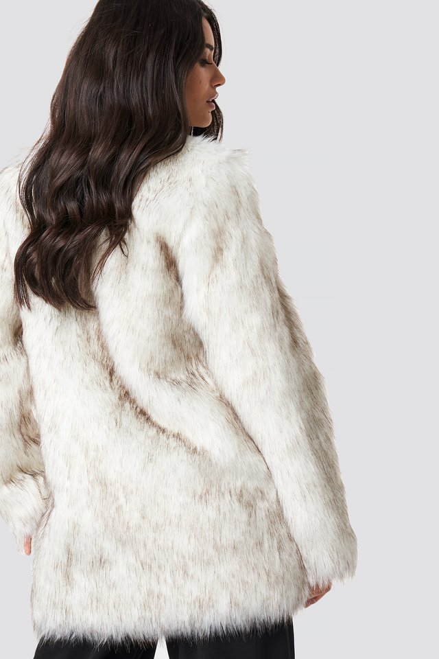 Round Neck Faux Fur Jacket Cream