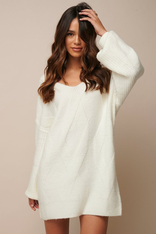 Braided Cable Knitted Dress Off White