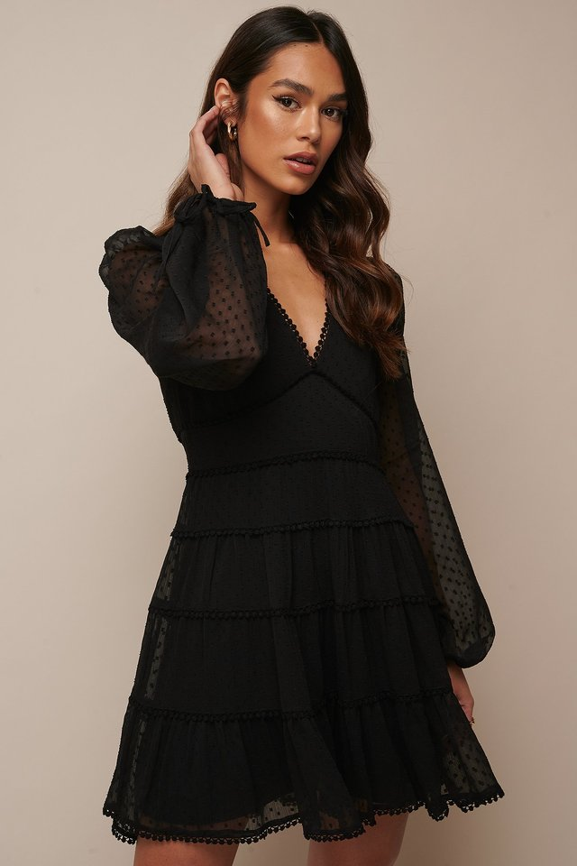 Dotted Chiffon Frill Dress Black