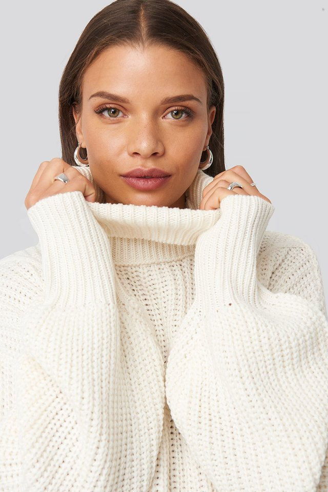 Ribbed Polo Cable Knit Sweater Off White