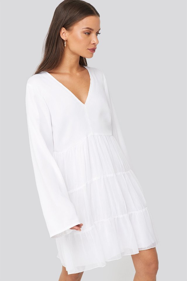 Asymmetric Frill Chiffon Dress White