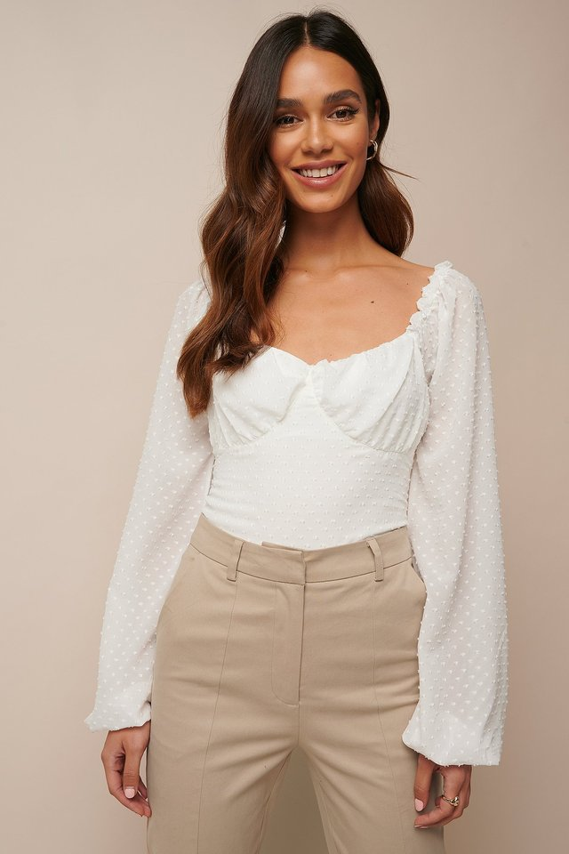 Balloon Sleeve Dotted Chiffon Blouse White