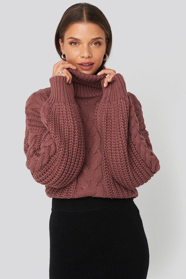 Chunky Cable Knit Sweater Dusty Pink Rose