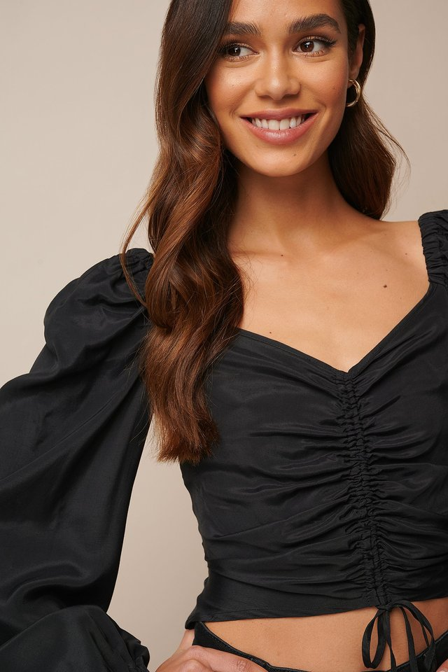 Draped Balloon Sleeve Blouse Black