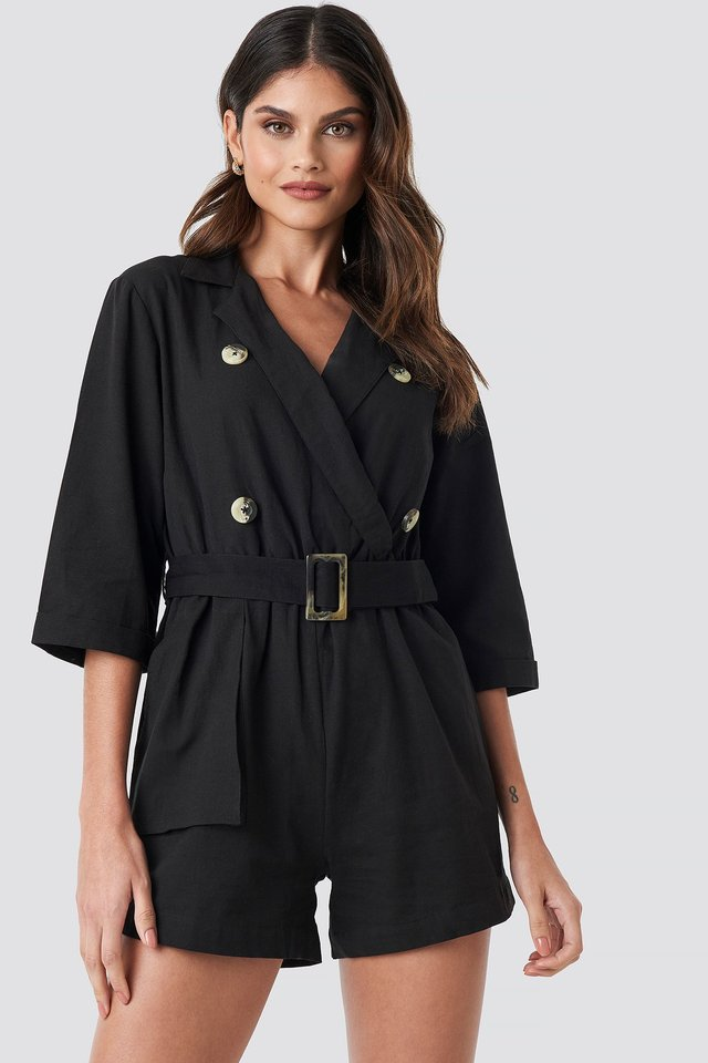 Front Button Linen Look Playsuit Black