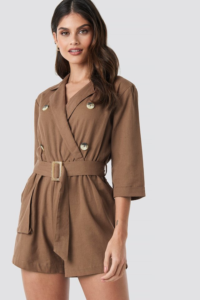 Front Button Linen Look Playsuit Brown