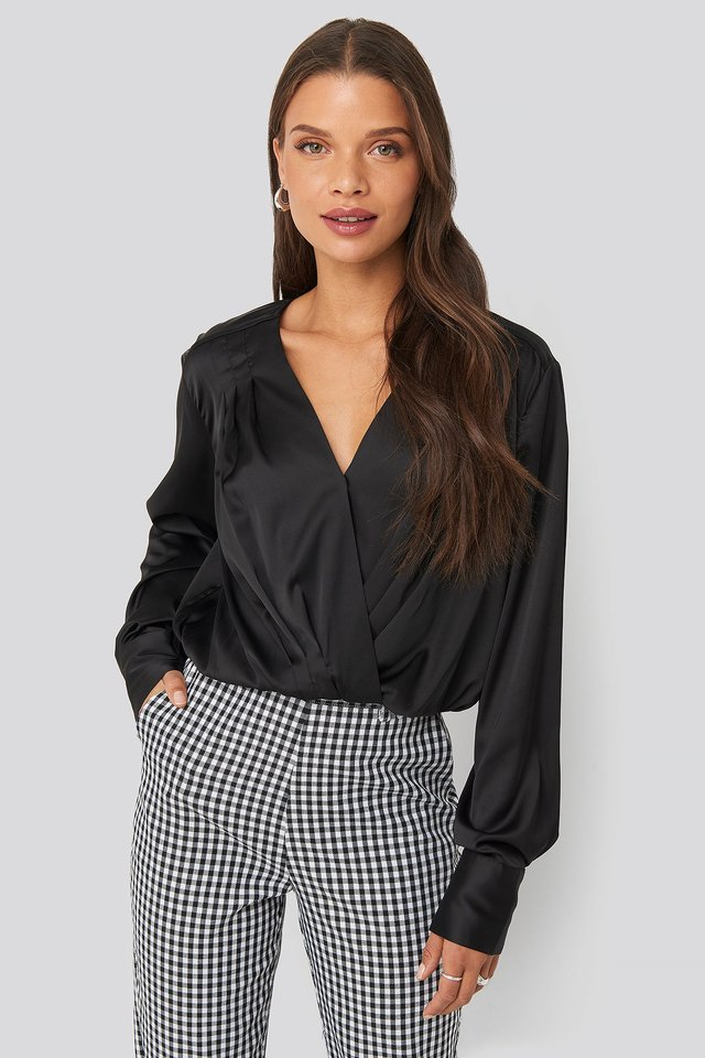 Overlap Gathered Satin Blouse Black