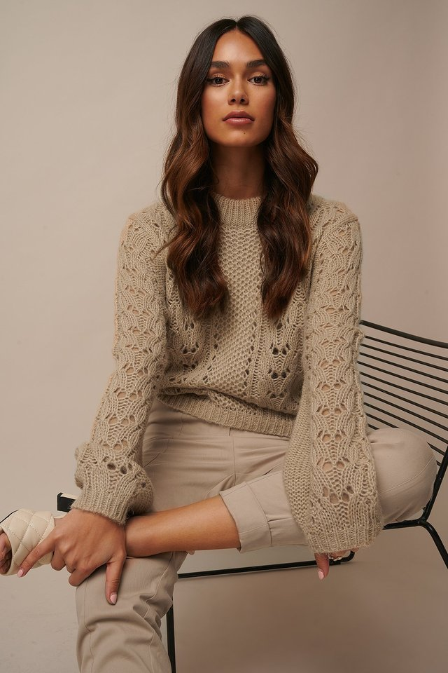Pattern Knitted Sweater Beige