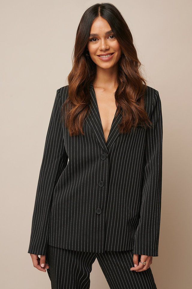 Pinstriped Straight Blazer Black Pinstripe