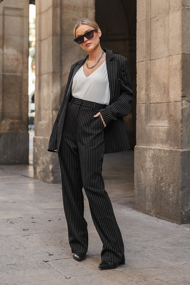 Pinstriped Straight Suit Pants Black Pinstripe