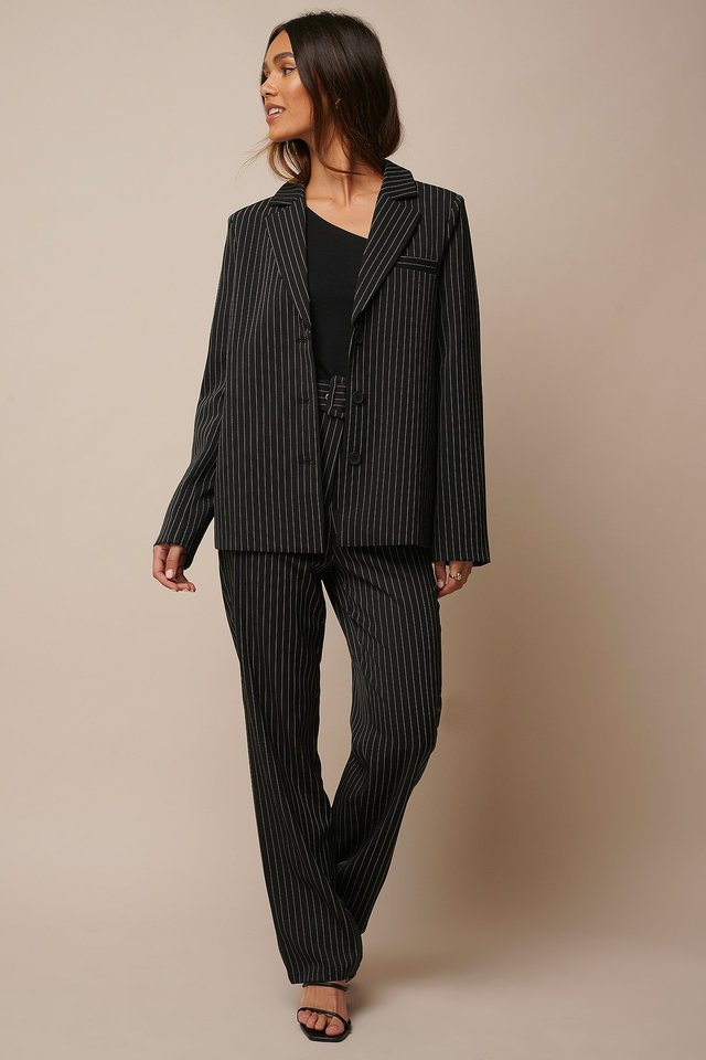 Black Pinstripe Pinstriped Straight Suit Pants