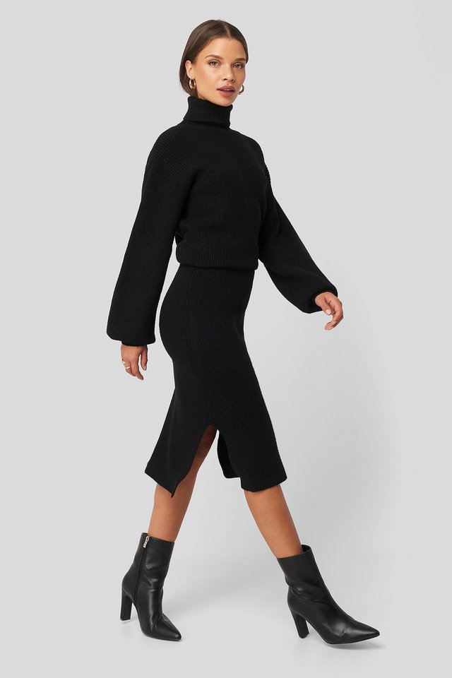 Ribbed Knit Midi Skirt Black