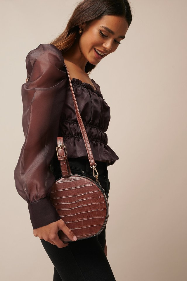 Round Croco Look Bag Dark Brown