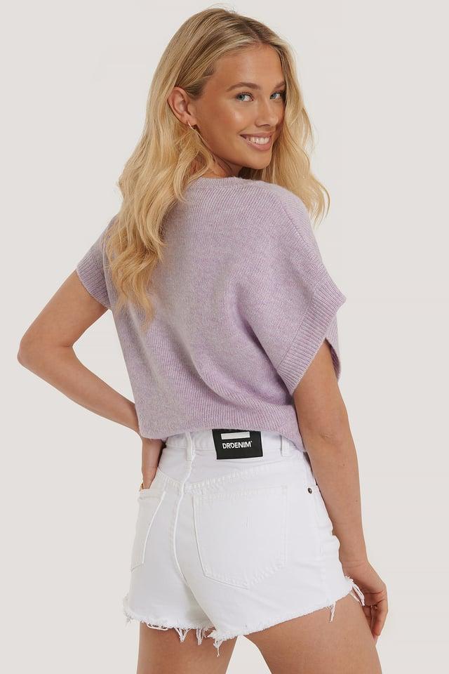 White Shorts Med Høyt Liv