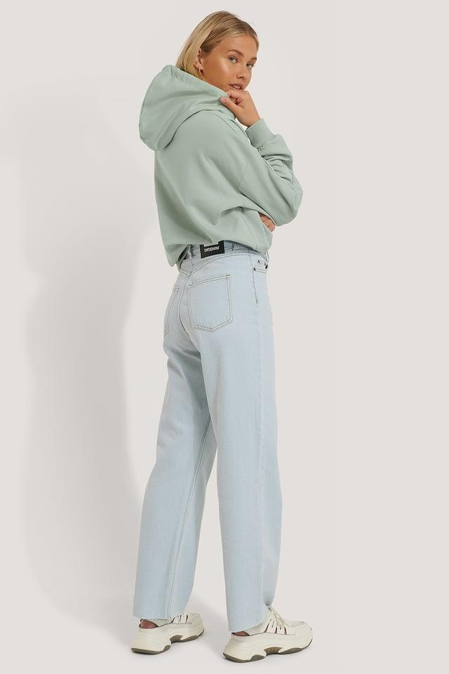 Gerade Geschnittene Jeans Mit Hoher Taille Indigo Blue