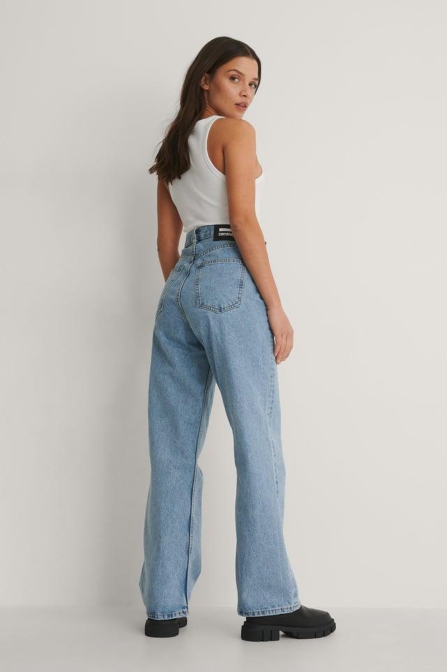 Light Retro Rette Jeans Med Høyt Liv