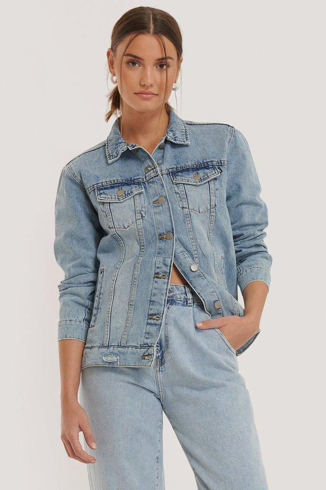 River Trucker Jacket Destiny Blue Ripped