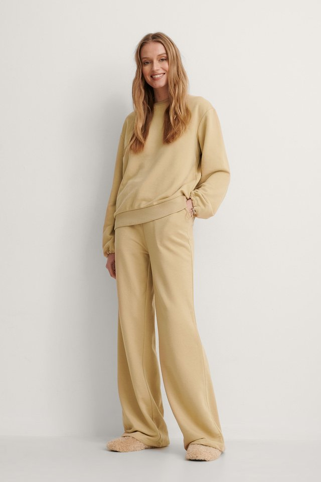 Beige Drawstring Sweatpants